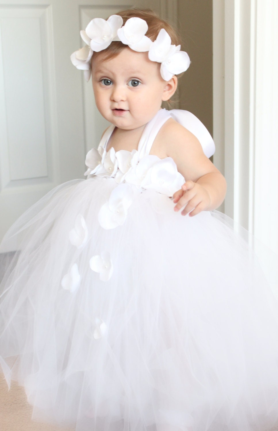 d4126e2a750 Gorgeous White Petal Flower Girl Tutu Dress for your 6-18