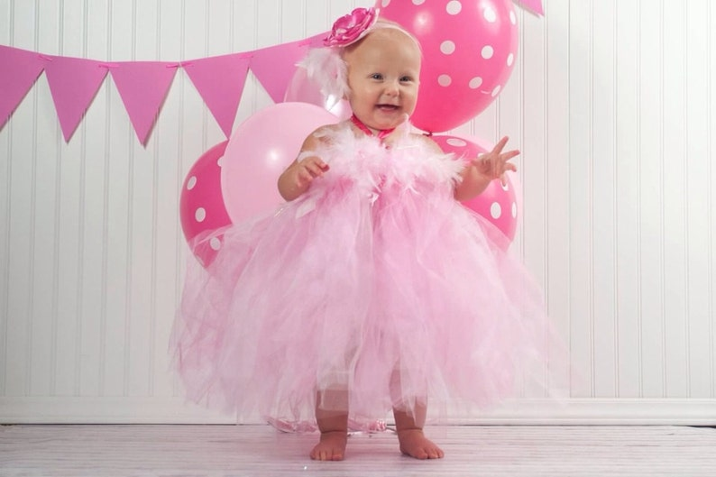 263ae4822d6e Gorgeous Hot Pink and Light Pink Feather Tutu Dress for Baby | Etsy
