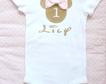 Beautiful Minnie Mouse Personalized Birthday Onesie in Light Pink and Gold for Baby Girl 12 Months Old First Birthday Cake Smash