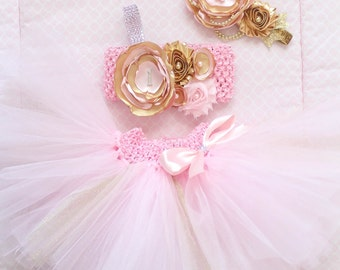 Gorgeous Pink Gold Cake Smash Outfit Tutu Set 3 Piece for Baby Girl Newborn-18 Months First Birthday Pageant Dress
