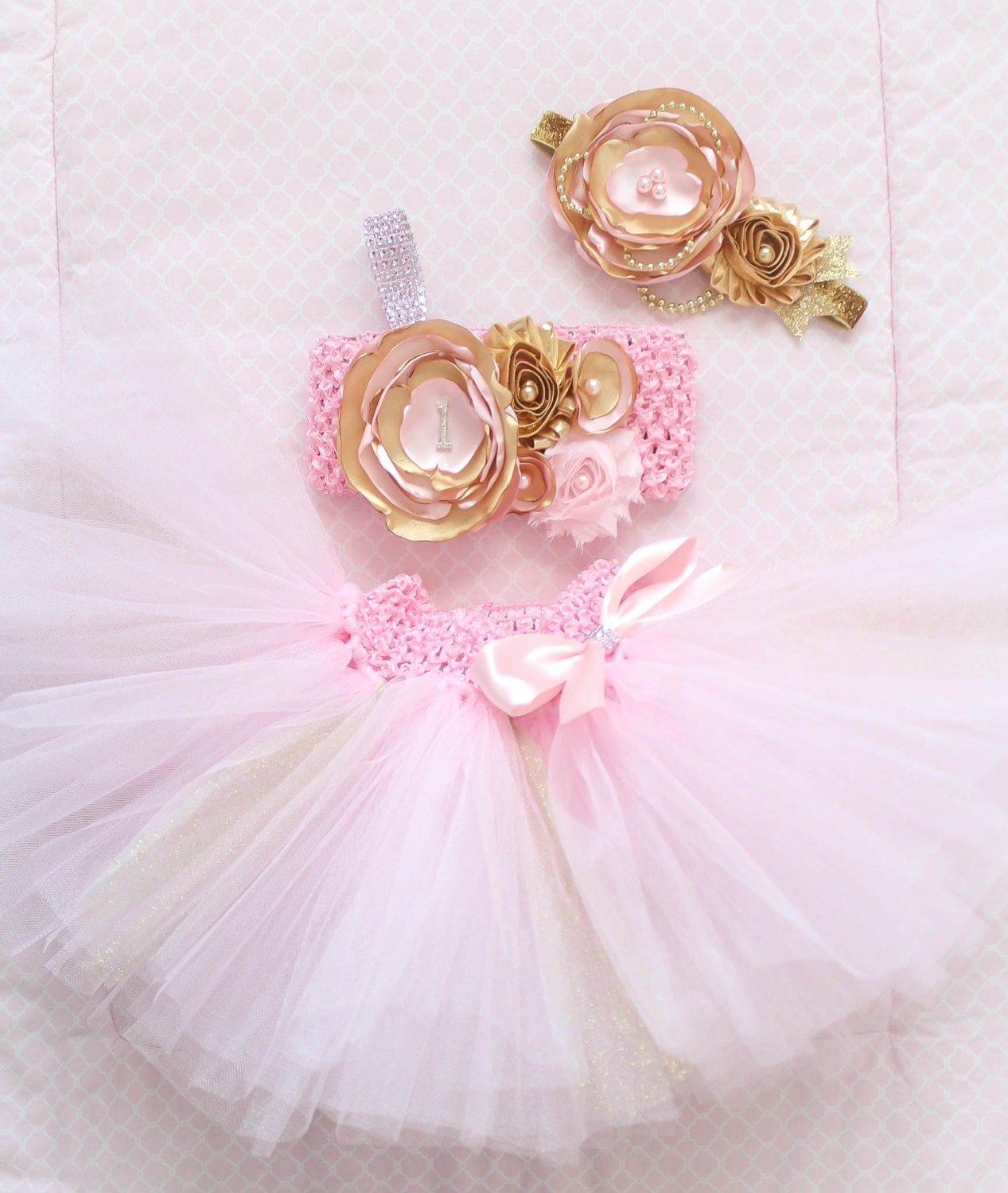 Gorgeous Pink Gold Cake Smash Outfit Tutu Set 3 Piece for Baby