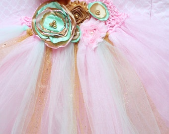 Gorgeous Beautiful Mint Pink and Gold Satin Shabby Chic Flower Tutu Dress for Baby Girl 6-18 Months old First Birthday Unicorn Birthday