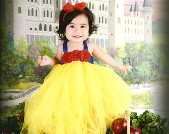 Beautiful Snow White Tutu Dress Costume with Red Hair Bow for Baby Girl 6-18 Months First Halloween