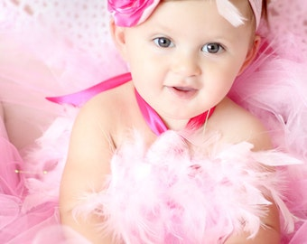 Gorgeous Hot Pink and Light Pink Feather Tutu Dress for Baby Girl 6-18 Months First Birthday