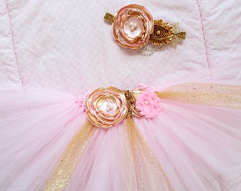 Beautiful Pink and Gold Tutu Skirt and Satin Flower Headband for Baby Girl 12-24 Months Old First Second Birthday Cake Smash