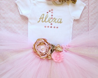 Beautiful Pink Gold Tutu Skirt, Satin Flower Headband and Personalized Birthday Onesie for Baby Girl 12 Months Old First Birthday Cake Smash