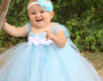 Beautiful Cinderella Tutu Dress Costume with Crown Headband for Baby Girl 6-18 Months First Halloween Baby Halloween Costume