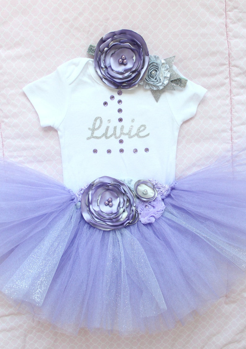 38ad3e3874 Beautiful Lavender Silver Tutu Skirt Flower Headband and | Etsy