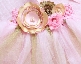 Gorgeous Beautiful Light Pink and Gold Satin Shabby Chic Flower Tutu Dress for Baby Girl 6-18 Months old First Birthday