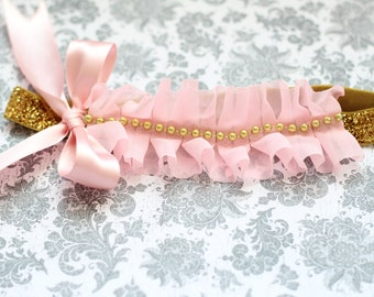Beautiful Light Pink and Gold Ruffle Couture Headband for Pink/Gold Tutu Dress First Birthday Baby Girl 6-18 Months Old