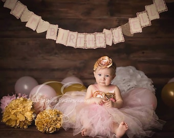 Gorgeous Light Pink Gold Tutu Dress Satin Shabby Chic Flower Tutu Dress for Baby Girl 6-18 Months old First Birthday