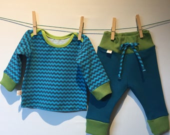 Turquoise with green baby set, ecological elastic cotton, MT 62