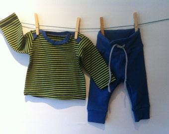Blue/Green striped boys set, elastic cotton, mt 62