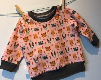 Animals cups sweatshirt, jersey cotton, 68 mt