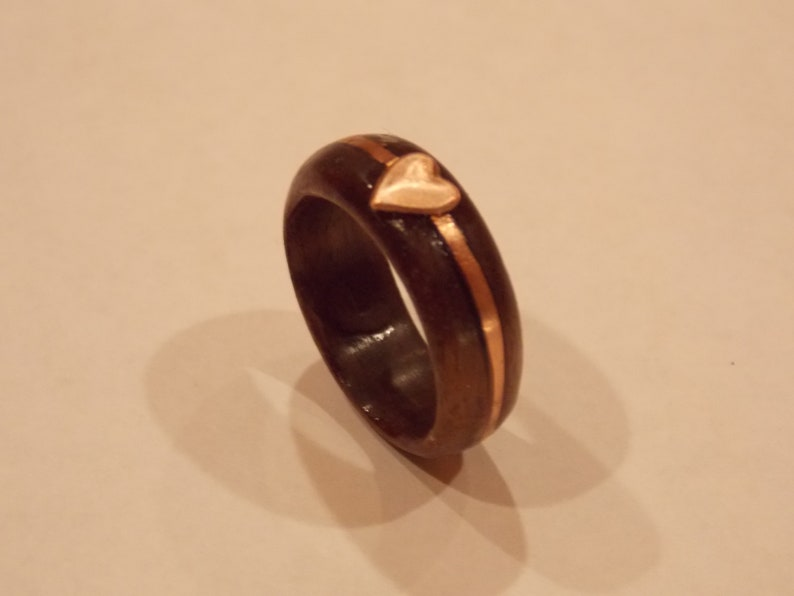 Walnut wood ring with Copper inlay copper Heart ring size 7 12 unique ring cool ring different ring handmade ring ooak ring heart ring