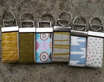 Mini Key Fobs, Modern Fabric, 6 Choices, Ready to Ship