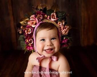 Floral bonnet- Alexandria #sitter size #photographyProp