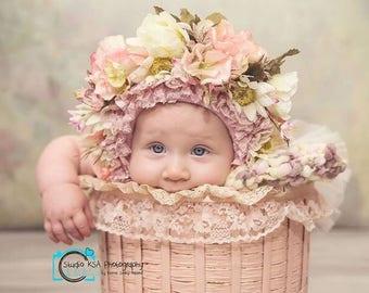 Pink  Sparkles Floral Bonnet
