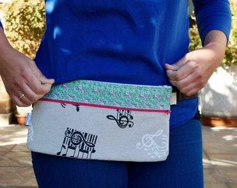 Waist bag,fanny pack,reversible waist bag,stripped fanny pack,music waist bag,reversible purse,reversible handbag,floral waist bag,hips bag