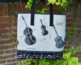 Music tote bag, violin tote bag, canvas tote bag, musician bag, viola bag, musical bag, contrabass bag,tote bag,music school bag,music print