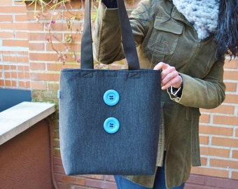 Canvas tote,canvas tote bag,buttons tote,black tote,canvas purse bag,shopping bag,denim tote bag,black totes,womens tote bag,fabric purse