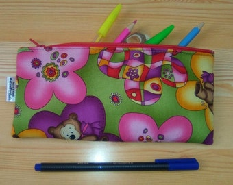 Flowers pencil case,bears pencilcase,flowers pouch,zippered pouch,kawaii pencil case,children pouch,child bag,flowers print,travel pouch