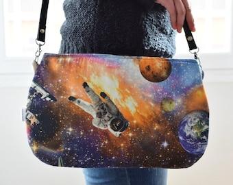 Space bag,spaceman clutch,fabric clutch,planets purse,planet bag,crossbody bag,galaxy handbag,printed bag,spring bag,canvas handbag