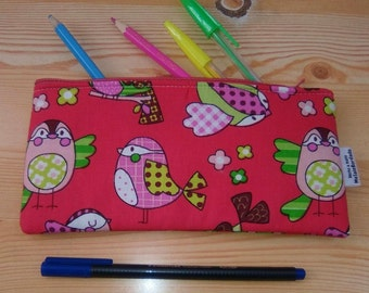 Bird case,animals pencilcase,kids pouch,zippered pouch,kawaii pencil case,chicks bag,owls print,travel pouch,zippered bag