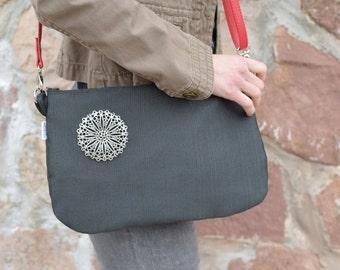 Gray handbag,gray clutch,gray purse bag,zipper gray bag,gray purse,crossbody bag,crossbody messenger,autumn colors,gifts for her,purse bag