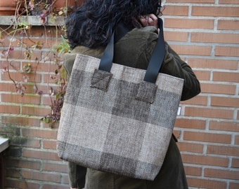 Canvas tote,canvas tote bag,squares tote,black tote,canvas purse bag,shopping bag,brown tote bag,tweed totes,womens tote bag,fabric purse