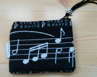Music coin purse,music headphones case,music pouch,music purse,musical coin purse,musician gift,musician pouch,score print,score coin purse
