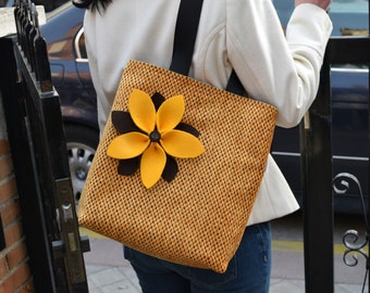 Sunflowers tote bag,yellow tote,canvas totes,womens purse,yellow purse bag,sunflower bag,quilted tote,luxury tote bag,brown tote bag