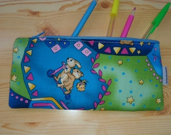 Elephant case,animals pencilcase,kids pouch,zippered pouch,kawaii pencil case,bears bag,rabbit print,travel pouch,zippered bag