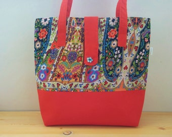 Canvas tote bag,red tote,flower tote,flowers tote bag,oriental print,oriental bag,oriental print fabric,floral totes,flowers tote bag