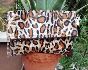 Leopard clutch,leopard purse,leopard bag,leopard handbag,animal print purse,animal print bags,foldover clutch,folded bag,foldable purse