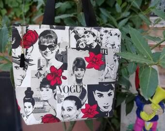 Audrey tote,Audrey Hepburn,Audrey travel,Audrey purse bag,Audrey bag,Audrey shopping,shoulder bag, fabric purse,canvas tote, tote bag