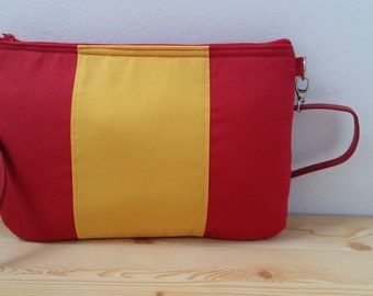 Flag purse,red purse,fabric purse bag,fabric handbag,red handbag,spanish handbag,flag handbag,patriot bag,spanish flag, red and yellow