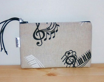 Music pencil case, music pencilcase, music pouch, music purse, musical pencilcase, musician gift, musician pouch, musical purse, score print