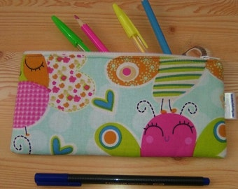 Butterfly case,animals pencilcase,kids pouch,zippered pouch,kawaii pencil case,butterflies bag,owls print,travel pouch,zippered bag