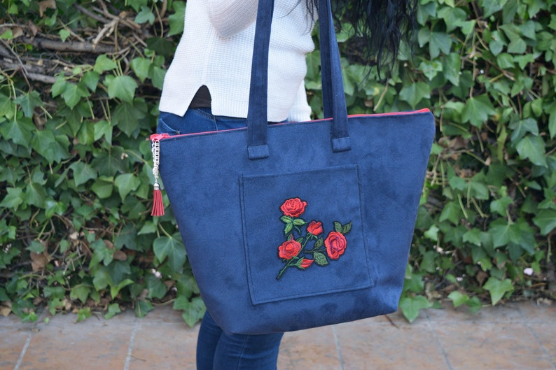 Canvas tote,purse bag,floral tote bag,blue bag,denim purse,patch purse,flowers purse,fabric bag,blue shoulder bag,shopping bag,blue bag