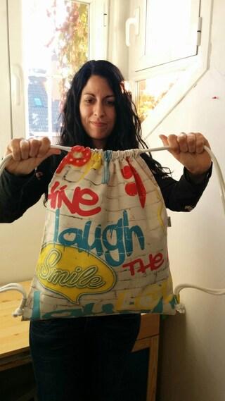 String backpack,comic backpack,graffiti print fabric,graffiti fabric,fabric backpack,draw string backpack,draw string bag,graffiti print