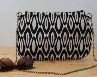 Canvas purses,chain purse bag,geometrical purse,black and white,fabric purse bag,fabric handbag,chain handbag,geometric clutch,cocktail bag