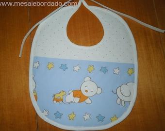 Bear bib, teddy bear bib, blue bib, baby gift, baby shower gift, bears bib, quilted bib, it's a boy, baby shower, new born gift, baby bib