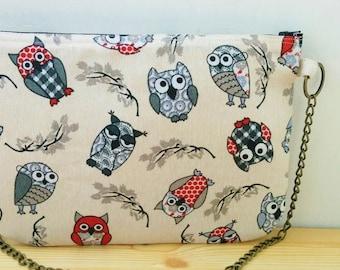 Owls bag, owls clutch,chain clutch, canvas bag, owls handbag, owls tote, owls fabric,owl bag, kawaii bag, canvas clutch, canvas handbag