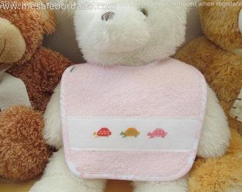 Turtles bib, turtle bib, pink bib, baby girl bib, embroidered bib, animals bib, cross stitch bib, towel bib, baby shower gift, it's a girl