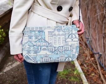 Turquoise bag,Turquoise clutch,fabric clutch,blue purse,city bag,crossbody bag,turquoise handbag,printed bag,spring bag,canvas handbag