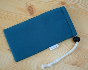 Glasses case,sunglasses case,blue pouch,canvas case,quilted glasses case,sunglasses cover,glasses bag,glasses soft case,blue glasses case