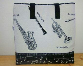 Music tote bag, saxo tote bag, canvas tote bag, musician bag, trumpet bag, musical bag, saxo bag, tote bag, music school bag,instruments bag