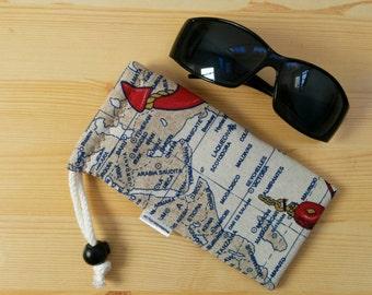 Glasses case,sunglasses case,maps glasses case,canvas case,quilted glasses case,sunglasses cover,glasses bag,glasses soft case,compass case