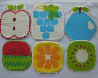 Grapes coaster,lemon potholder, kiwi coaster, fruit potholder,fruit coaster,watermelon coaster, quilted coaster,quilted potholder